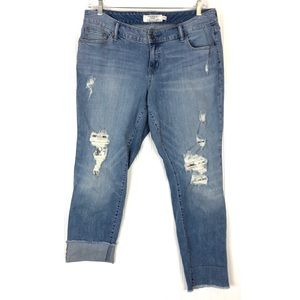 Torrid lace underlay crop boyfriend jeans  A0023